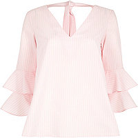 Pink stripe print double bell sleeve top