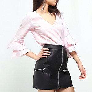 Pink - Stripe Ls Selina Poplin Top