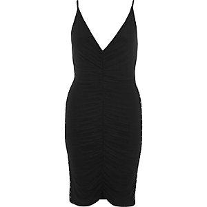 Black ruched corset side dress
