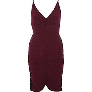 Dark red ruched corset side dress