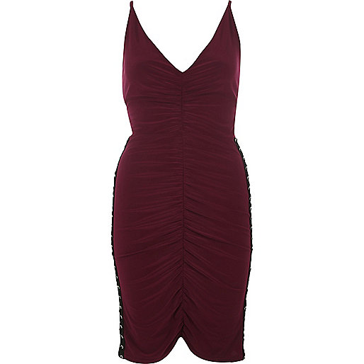 Dark red ruched corset side dress