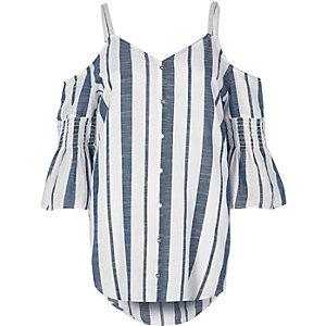 Blue stripe print cold shoulder shirt