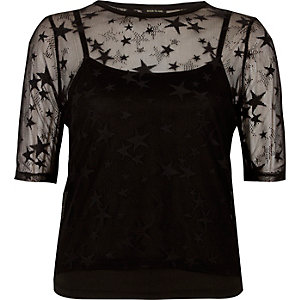 Black star mesh T-shirt