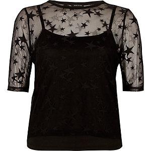 Black star mesh T-shirt