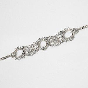 Silver tone floral rhinestone choker