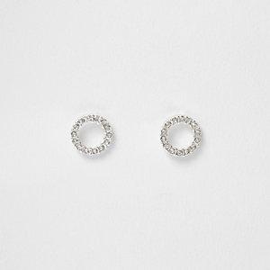 Silver tone diamante ring stud earrings