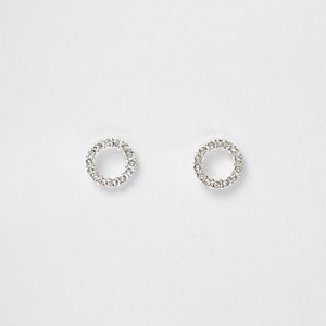 Silver tone rhinestone ring stud earrings