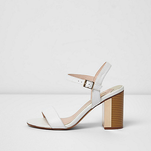 White metal insert block heel sandals