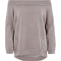Beiges Bardot-Sweatshirt