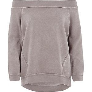 Beige burnout bardot sweatshirt