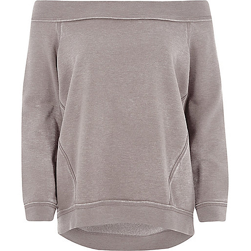 Beige burnout sweatshirt in bardotstijl