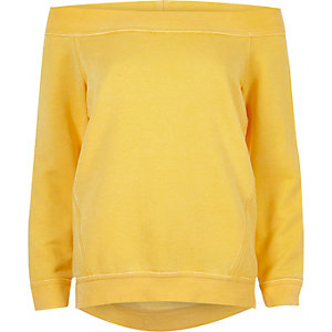 Yellow burnout bardot sweatshirt