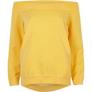 Geel burnout sweatshirt in bardotstijl