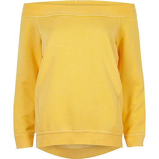 Yellow burnout bardot sweatshirt