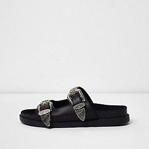 Schwarze Slipper mit doppelter Schnalle
