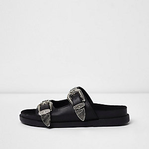 Black double western buckle sliders