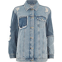 Mid blue reworked oversized denim jacket
