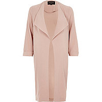 Pink popper fallaway duster coat
