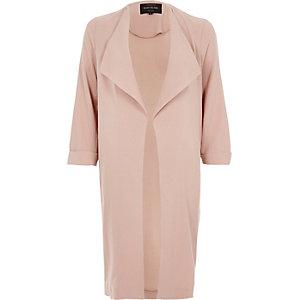 Pink popper fallaway duster coat