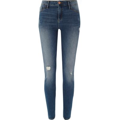 Molly Middenblauwe distressed jegging