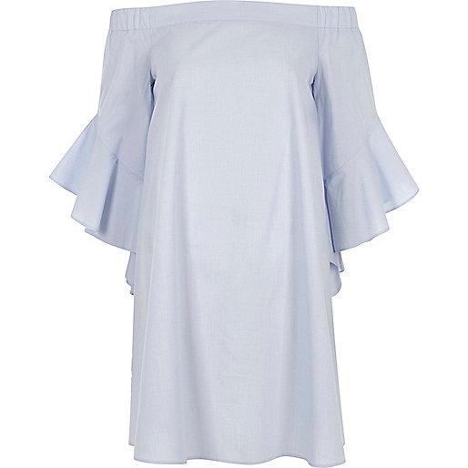 Blue bell sleeve bardot swing dress