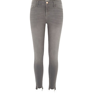 Molly - Grijze ripped modellerende jegging