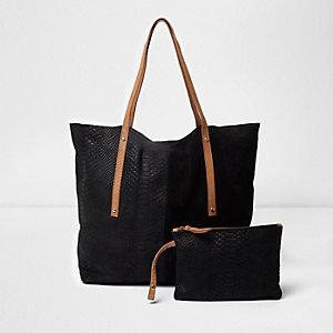 Zwarte leren handtas met zij-inzetten
