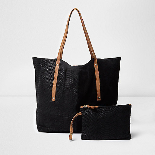 Black leather winged tote bag