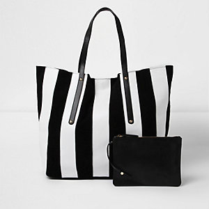 Black and white stripe leather tote bag