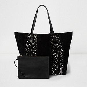 Zwarte suède handtas met studs