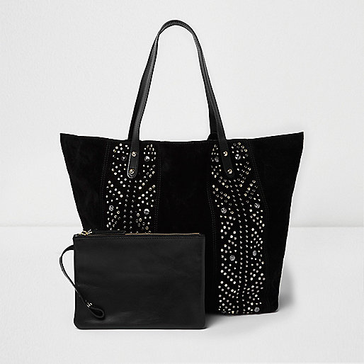 Black suede studded tote bag