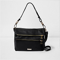 Black double zip pocket slouch messenger bag