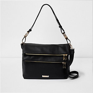 Black double zip pocket slouch messenger bag