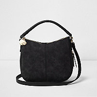 Black scooped underarm bucket bag
