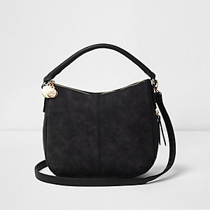 Black scooped underarm bucket bag