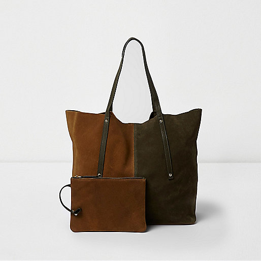 Khaki and brown suede winged tote bag