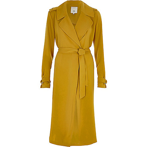 Yellow tie belt duster trench coat