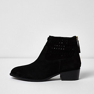 Black suede woven boots