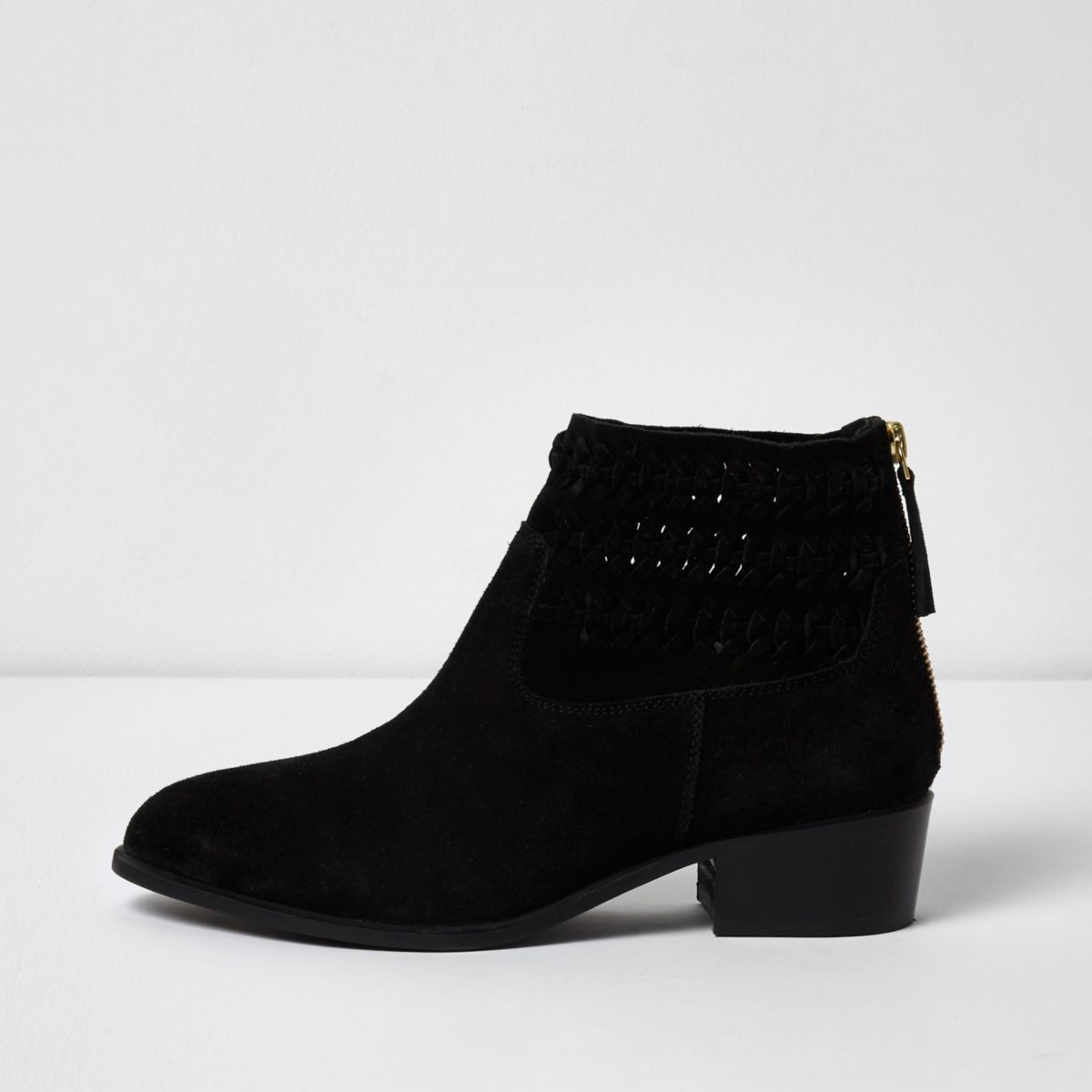 Zwarte suède geweven laarzen