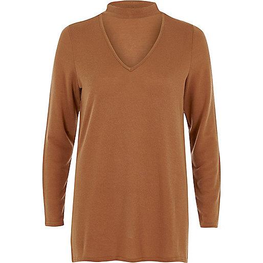 Brown choker neck knit sweater