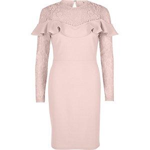 Light pink lace frill bodycon midi dress