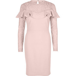 Light pink lace frill bodycon midi dress