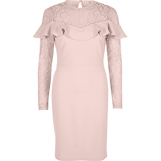 Nude frill long lace sleeve bodycon dress