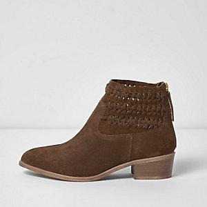 Bruine suède geweven laarzen