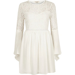 Cream lace long bell sleeve dress