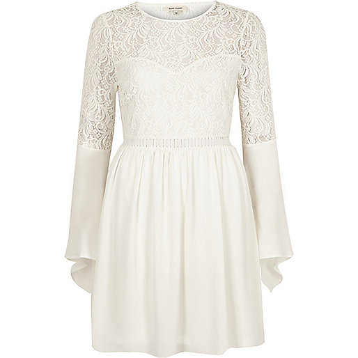 Cream lace long bell sleeve dress