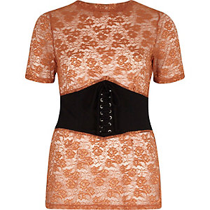 Brown embroidered corset front fitted T-shirt