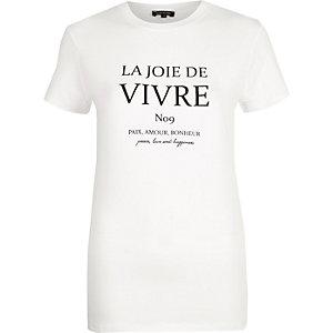 "Weißes, figurbetontes T-Shirt ""Vivre"""