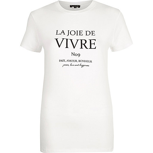 White 'vivre' print fitted T-shirt