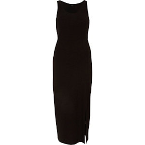 Black ruched sleeveless side split maxi dress